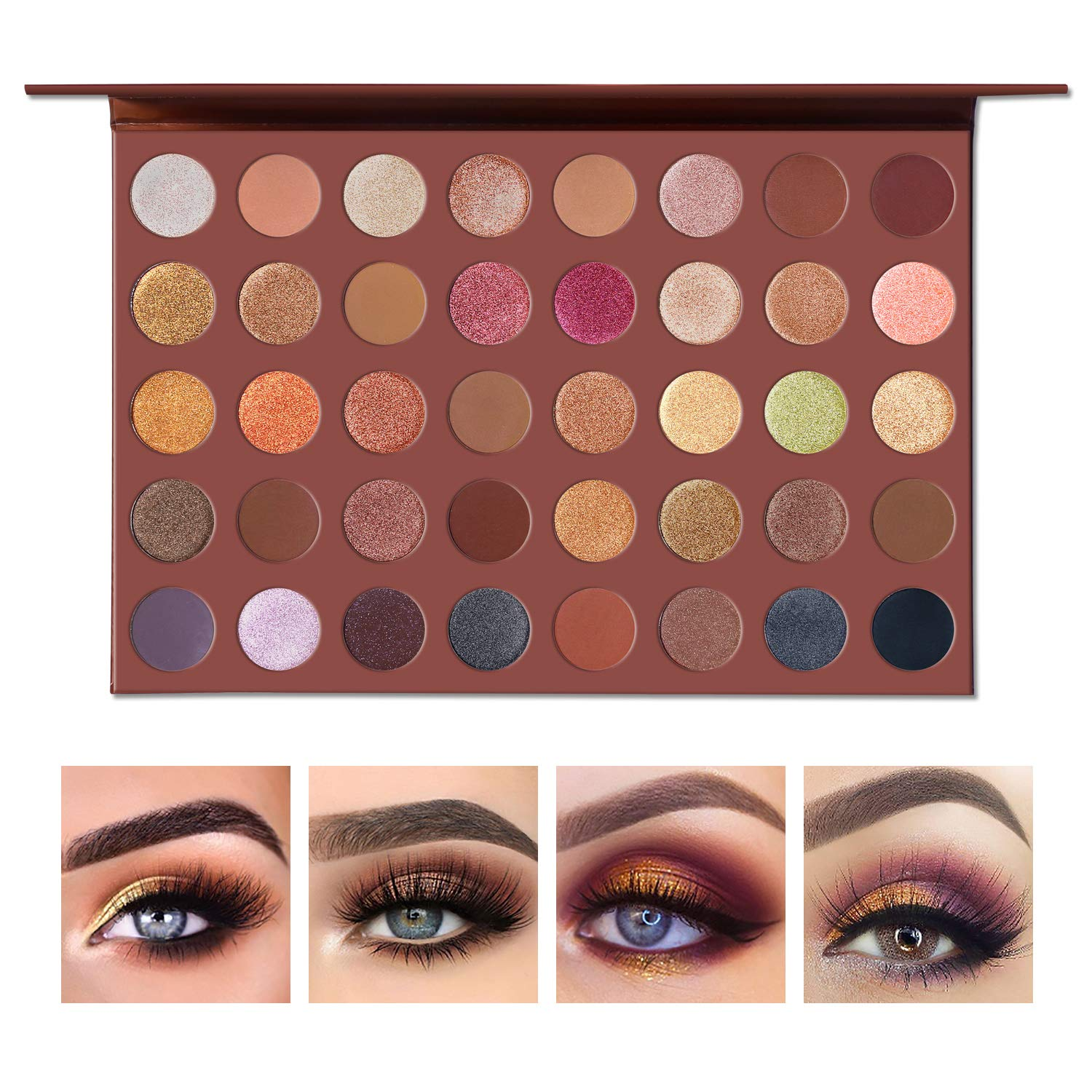 Ucanbe Pro Choco Fusion Bronze Eyeshadow Makeup Palette 40 Highly Pigmented Metallic Matte Shimmer Glitter Ultra Neutral Blendable Creamy Eye Shadow