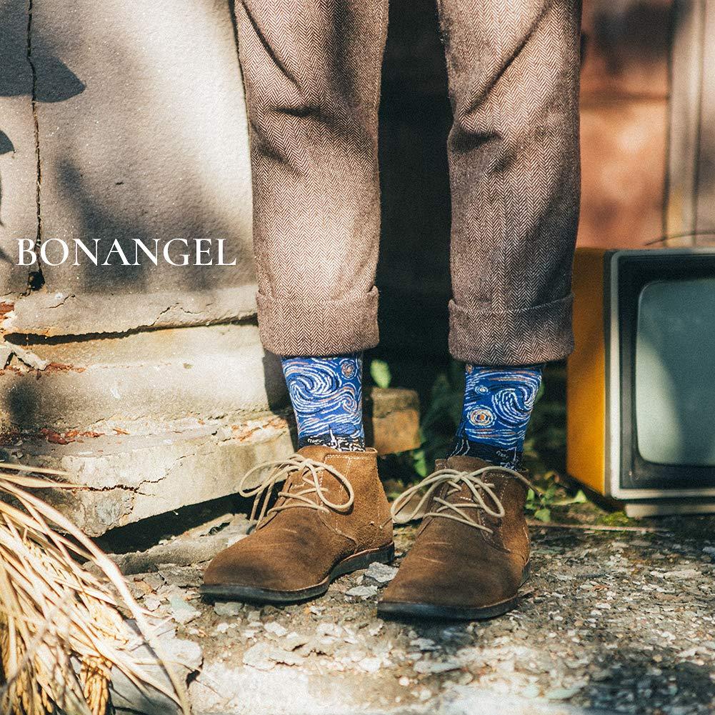 Bonangel Men\'s Fun Dress Socks-Colorful Funny Novelty Crew Socks Pack,Art Socks