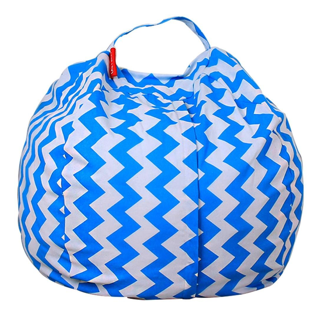 Sansee Toy Storage Bag, Kids Stuffed Animal Plush Toy Storage Bean Bag Soft Pouch Stripe Fabric Chair Re (Colour B)