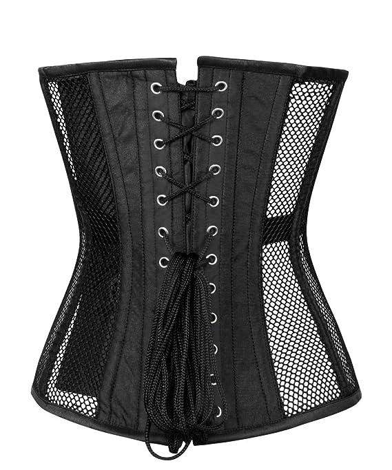 4c3ae517b86 CorsetDeal Spiral Steel Boned Black Overbust Mesh Corset - Black -  Amazon. co.uk  Clothing