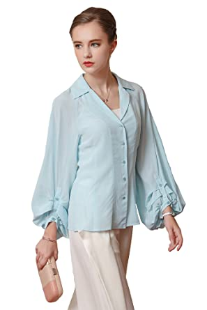 ea319976fa8ab9 Image Unavailable. Image not available for. Color  VOA Women s Light Blue  Silk Long Sleeve Suit Neck Blouse Shirt Top B7709