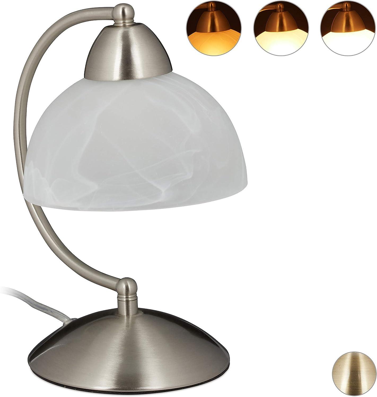 Relaxdays Lámpara de Mesa Vintage, Táctil, Cristal & Hierro, Regulable, E14, 230V, 25x15x19 cm, 1 Ud, Plateado, 40 W