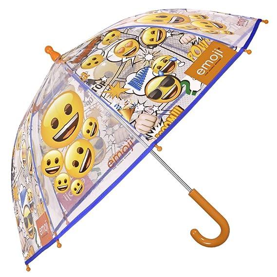 Paraguas Emoji de Niño y Niña con Paraguas Emoji de Niño y Niña - Paraguas Transparente de Burbuja Largo Resistente y antiviento - Apertura de ...