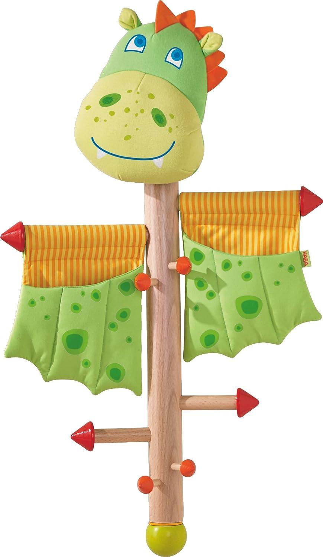 HABA 303037 - Appendiabiti a forma di drago, per bambine e ragazzi, altezza 70 cm, supporto in legno, tessuto e metallo, con 2 tasche portaoggetti, una vera attrazione nella cameretta dei bambini Habermaass GmbH