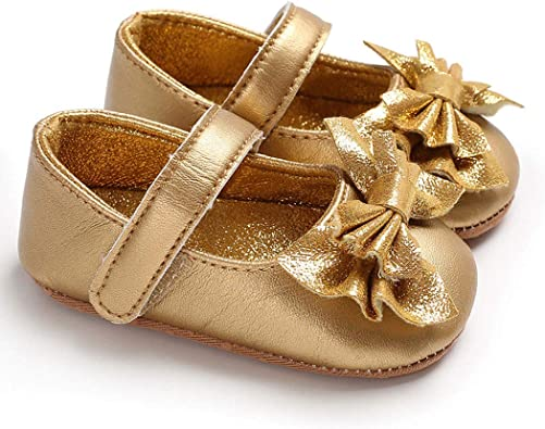 ICATHUNY 2021 Baby Girls Flats with Bowknot Non-Slip Toddler First Walkers Princess Dress Shoes Toddler Shoes