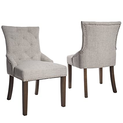 Merax WF010762 Dining Chair With Armrest, Nailhead Trim, Linen Upholstery  Set Of 2 (