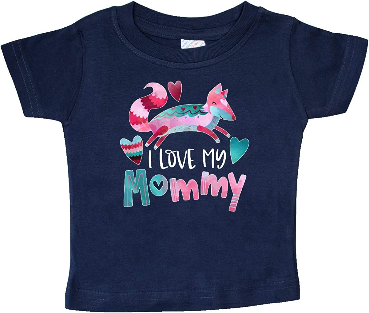inktastic I Love My Mommy Pink and Blue Fox with Hearts Baby T-Shirt