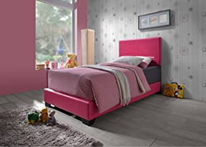 Furniture World Cody Upholstered Bed, Full, Pink