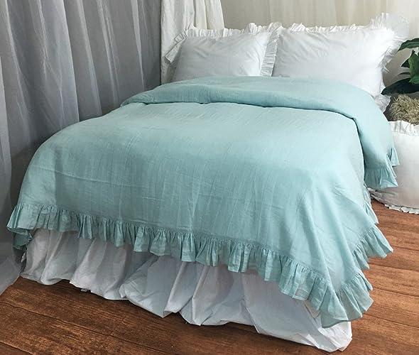 9dc58e3345 Amazon.com: Dove Ruffle Linen Duvet Cover, Ruffle Linen Bedding ...