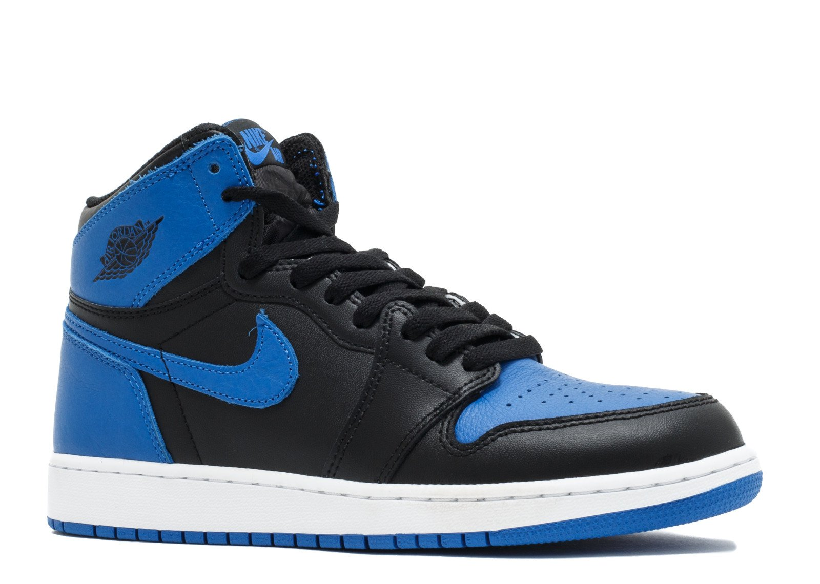 Nike Kid's Air Jordan AJ 1 Retro OG High Top Shoe, Black/Royal/White, 6 M US Big Kid