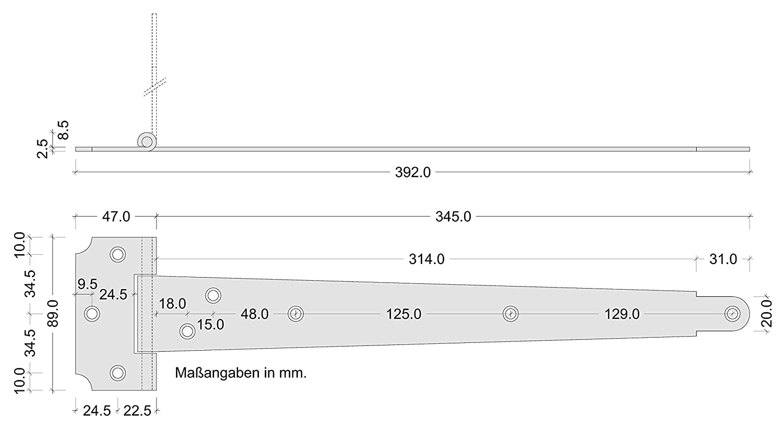 T/ür-Band mit L/änge 400 mm 1 St/ück Kreuzgeh/änge Stahl verzinkt Torscharnier zum Anschrauben im Holz ALPENSTAHL Ladenband Metall Torband Gartentor-Scharnier mit Kloben T/ürscharnier au/ßen
