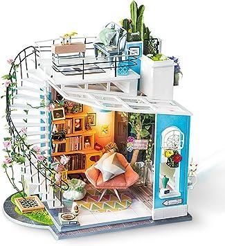 Oferta amazon: Rolife DIY Muñecas de Madera casa Manualidades Miniatura Kit Modelo & Mueble con Luces y Accesorios DIY Miniatura para la Decoración de Navidad (Dora Loft)