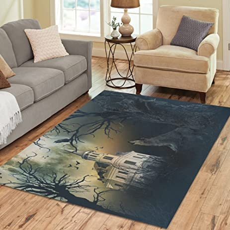 InterestPrint Haunted Castle With Wolf Howling Area Rug Carpet 7 X 5 Feet Halloween Spooky