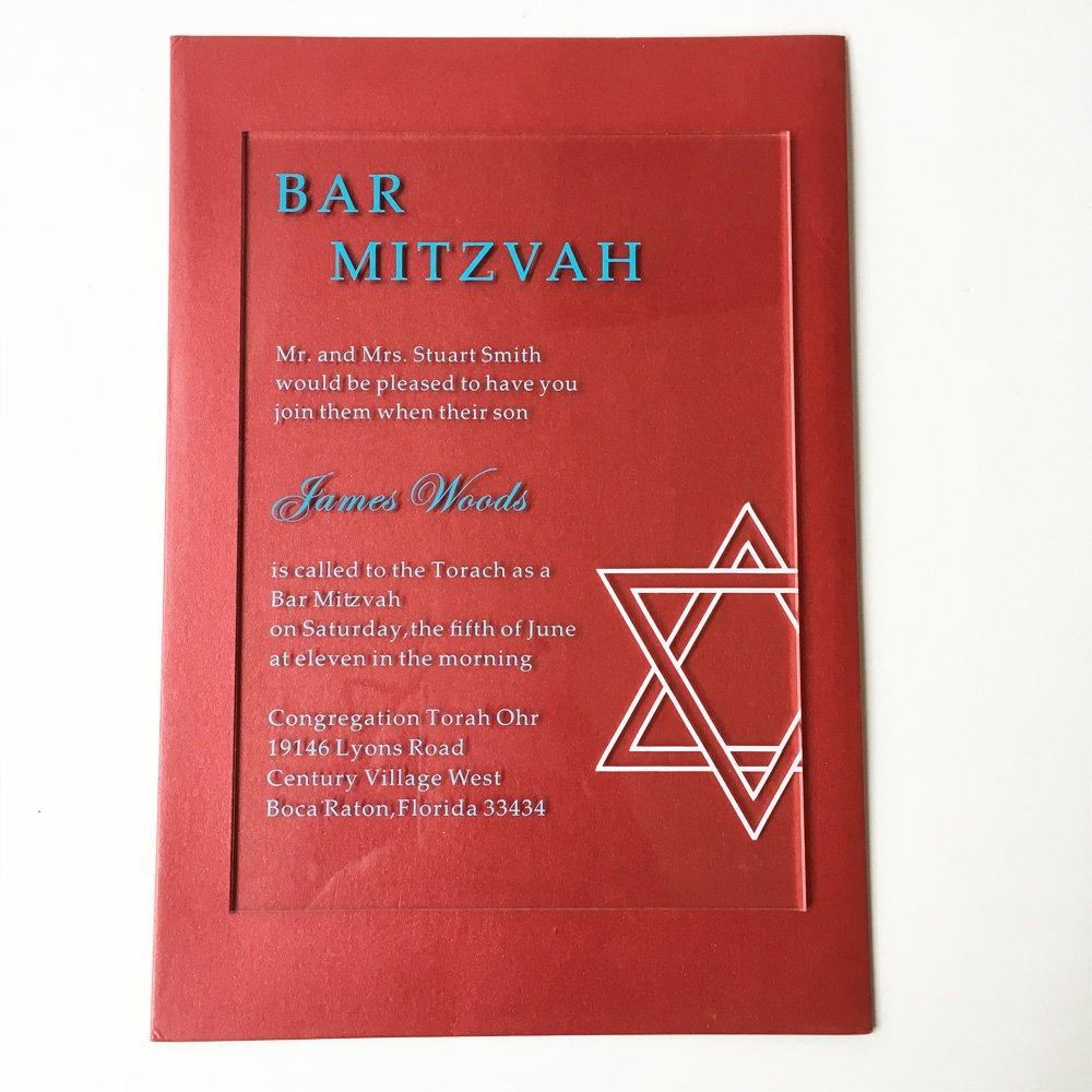 5x7inch clear acrylic Jewish Bar Mitzvah Invitation card Birthday ...