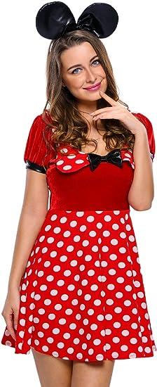 Disfraz de Minnie Mouse de Disney para mujer, 2 piezas, color rojo ...