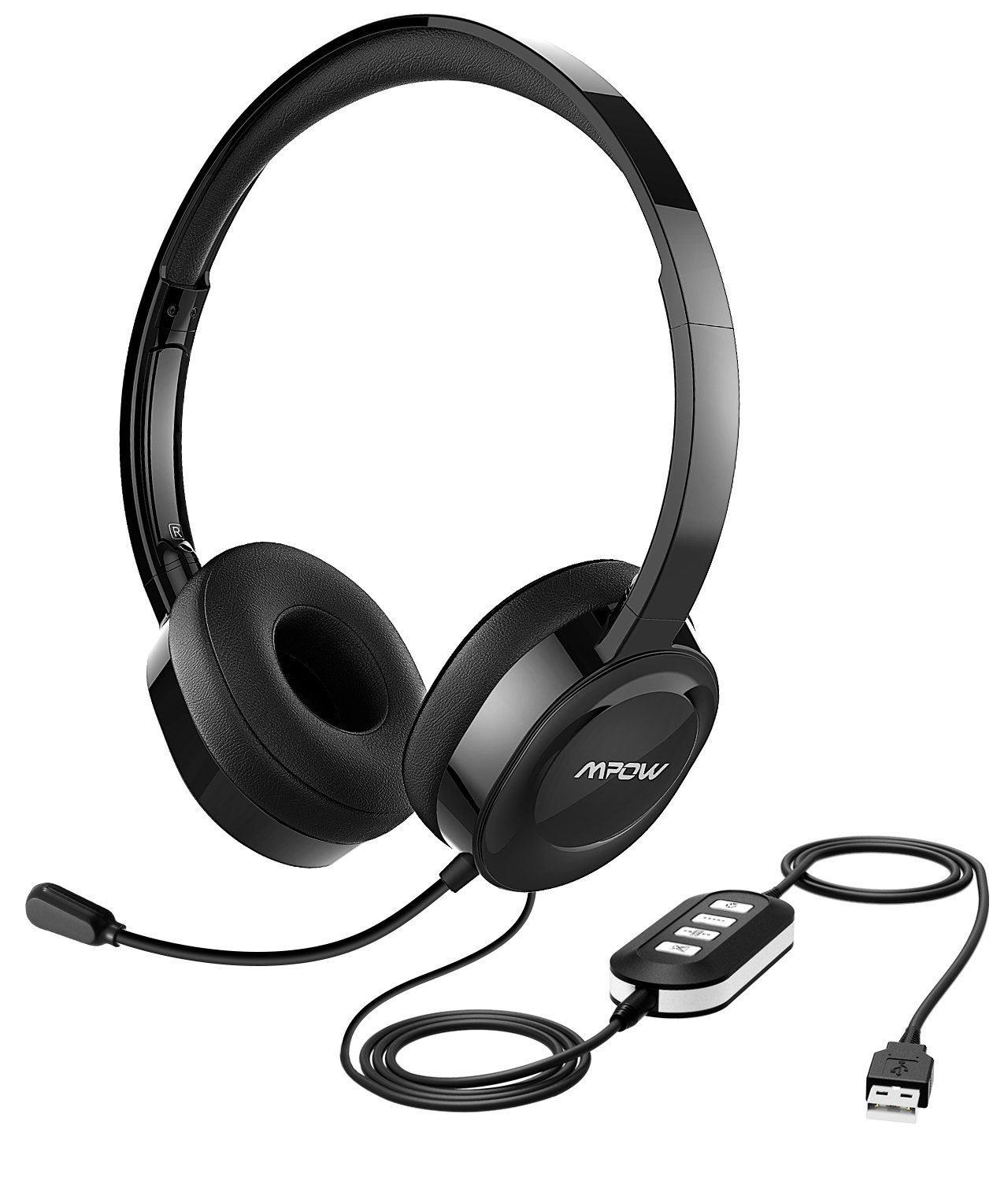 Mpow 158 USB Headset/ 3.5mm Computer Headset, Soft Memory-Protein Earmuffs, Noise Cancelling Headset with Microphone, Lightweight On-Ear Headphones, Wide Compatibility for PC,Cell Phone,Tablet