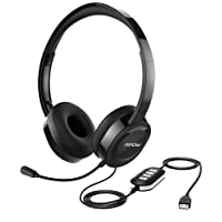 Mpow USB Headset/3.5mm PC Headset,[Upgraded Lightweight] Computer Headphone with Microphone Noise Cancelling, Business Skype VOIP Headset In-line Control for Call Center, Webinar, Online Conference, Voice Chat, Music, Cellphone [Multiple-Uses]