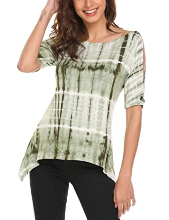 2495cce7081d4 Zeagoo Women s Loose Casual Short Sleeve Tie Dye Ombre Swing T-Shirt Tunic  Blouse Top