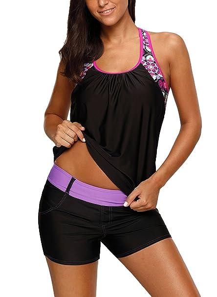 df2b974772c KIDVOVOU Women s Blouson Floral T-Back Push Up Tankini Top Racerback  Swimsuit