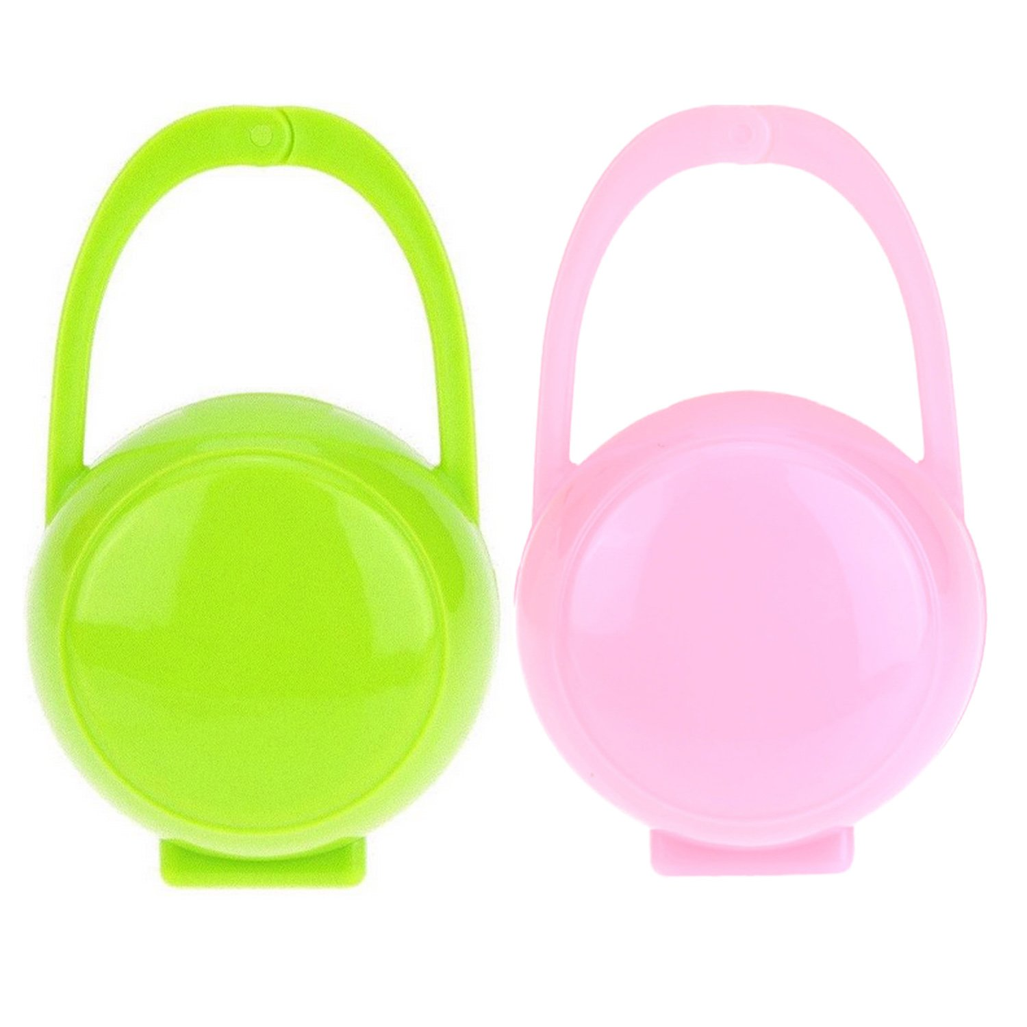 2pcs Portable Cute Infant Baby Pacifier Nipple Shield Storage Holder Case Box Container with Hang Handle for Boy Girls Green + Blue Migavan