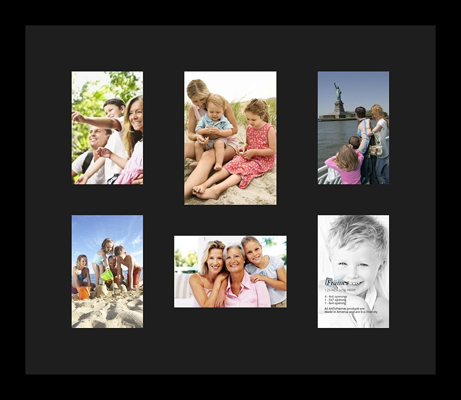 Art to Frames Double-Multimat-1135-89//89-FRBW26079 Collage Photo Frame Double Mat with 1-5x7 and 5-4x6 Openings and Satin Black Frame