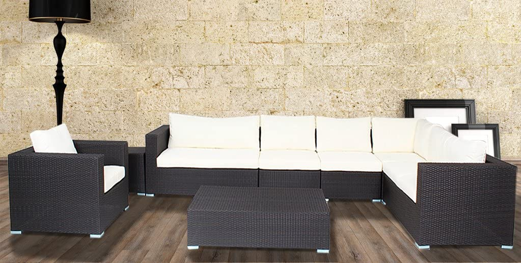 Outdoor Furniture Patio Sofa 8 Piece Sectional Table Chair Wicker (Beige white)