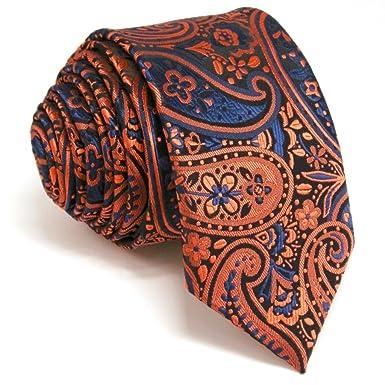 Shlax&Wing Corbata Flaca Corbatas Naranja Azul Cachemir Mens ...