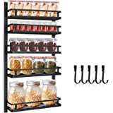 Wall Mount Spice Rack Organizer, Hasfu 5 Tier Height-adjustable Hanging Spice Shelf Storage Seasoning Holder for Kitchen and
