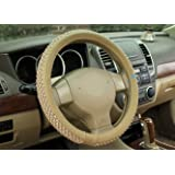 NIKAVI Car Steering Wheel Cover, Microfiber, Emboss Holes, Soft Padding Great Hand Feel, Anti-slip Matte Finish, 15 Inch Middle Size - beige Line