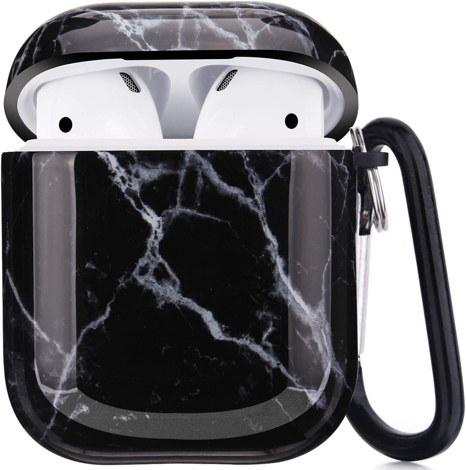 Troniker Stylish AirPods Case, Black Marble AirPods Protective Case Cover Designed forApple AirPods 1st/2nd Durable Shockproof Drop Proof Case for AirPods Charging Case with Anti-Lost Keychain
