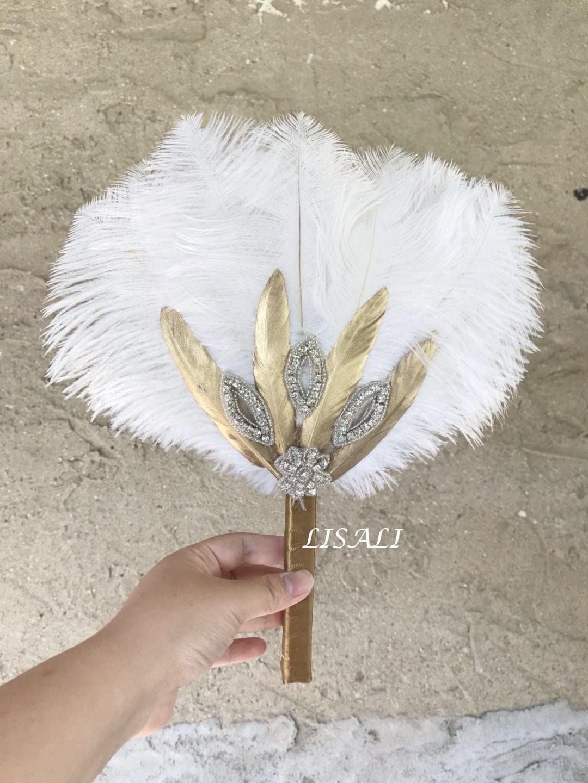 Ivory Ostrich feather bouquet Feather Fan wedding bouquet