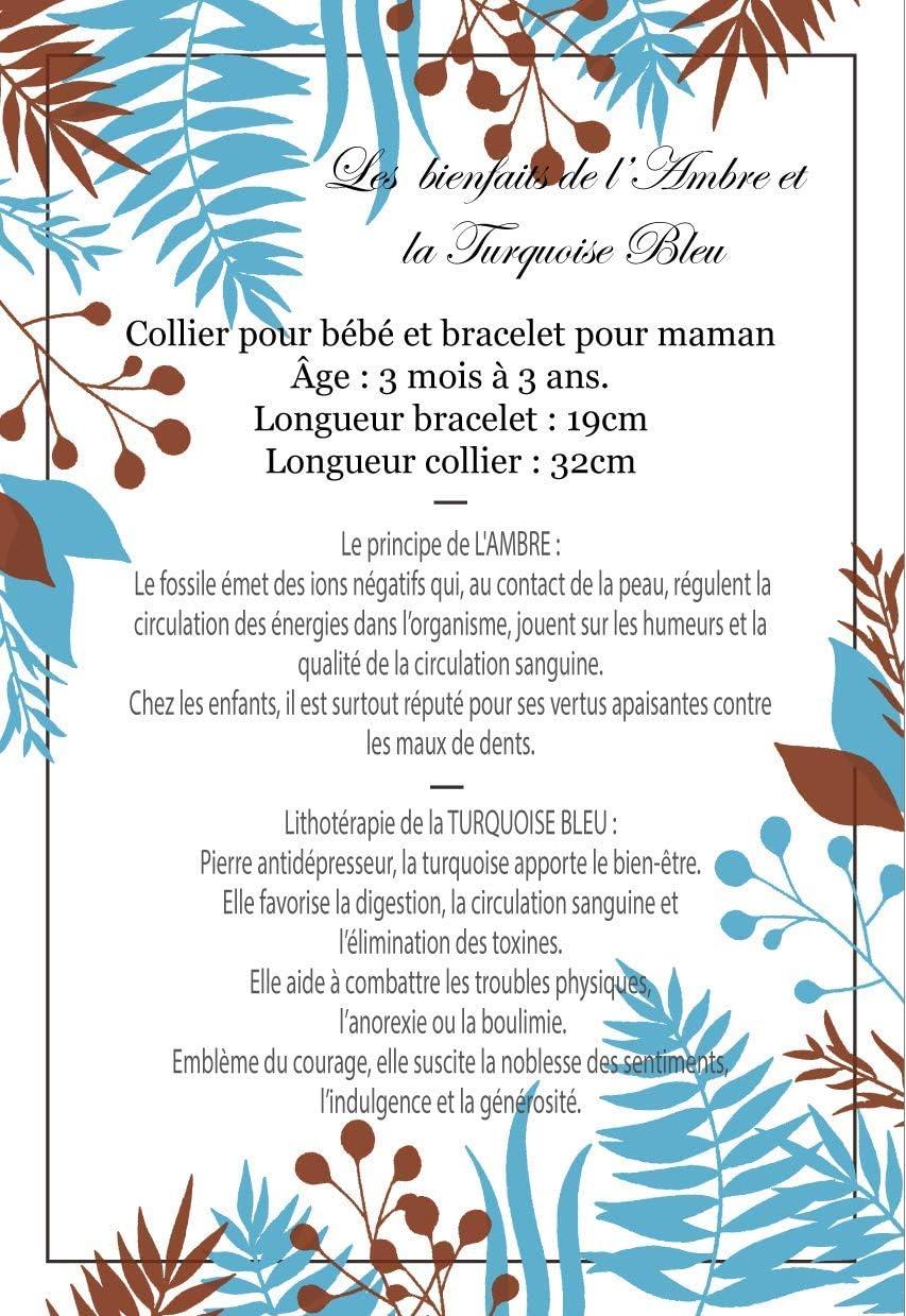 certifi/é en laboratoire fran/çais Irreversible Bijoux diam/ètre perle 6mm Bracelet Papa//Maman Pierres Naturelles//Magnesite//Howlite teint/é bleu