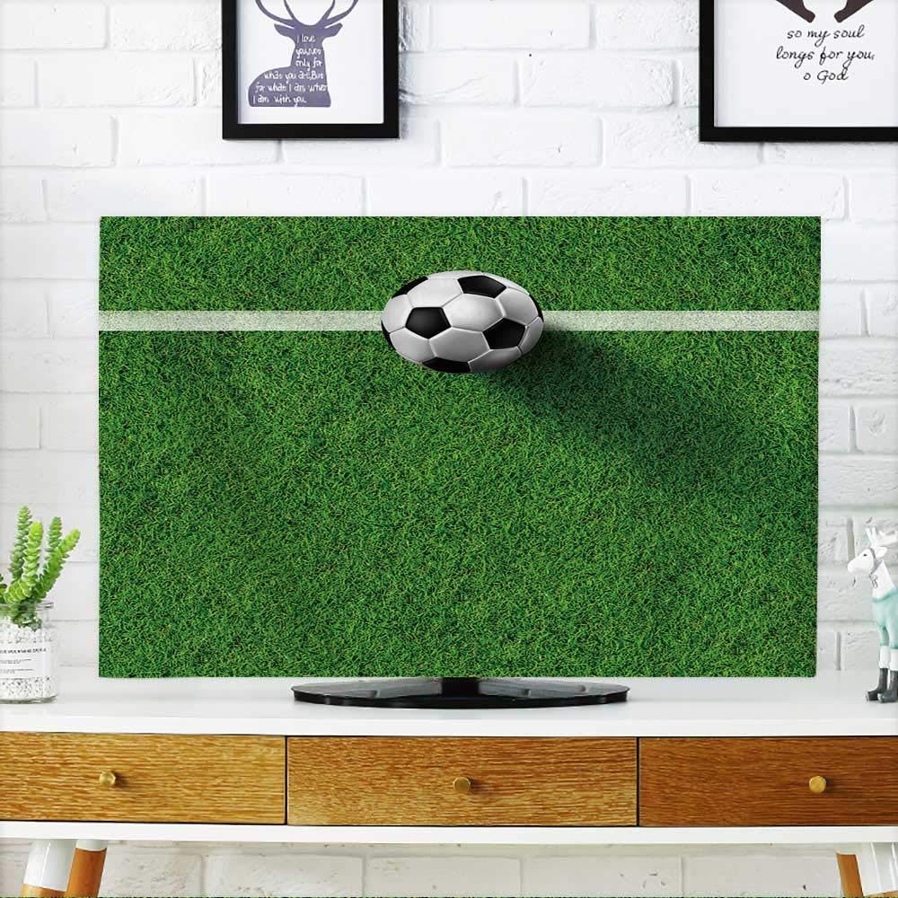PRUNUS Protect Your TV サッカーボール (d) を本物の芝生フィールドイメージでTVを保護 幅19 x 高さ30 インチ/テレビ32インチ W36 x H60 INCH/TV 65
