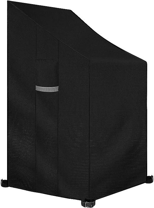 Dokon Funda para Sillas Apilables de jardín, Impermeable, Resistente al Viento, Resistente al Polvo, Anti-UV 420D Oxford Funda Protectora para Sillas Apiladas Exterior (65x65x80/120cm) - Negro: Amazon.es: Jardín