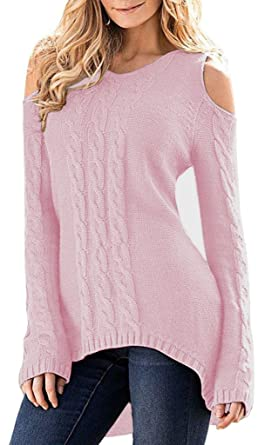 c35d2f1ee6170 Merryfun Women s Cold Shoulder Sweater Fall Long Sleeve Knit Pullover Tops  Pink
