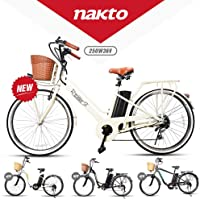 """NAKTO 26"""" 250W City Electric Bicycle Sporting Shimano 6- Speed Gear EBike with Removable 250W 36V10A Lithium Battery"""