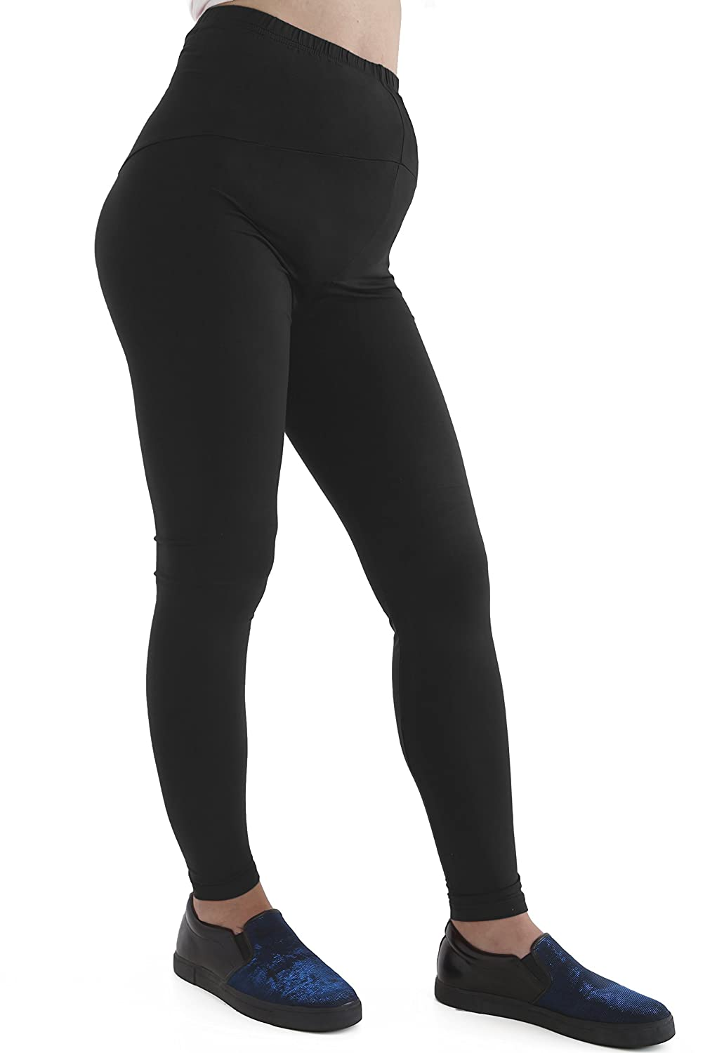 GW CLASSYOUTFIT® Womens Ladies Maternity Leggings Full Ankle Length Stretchy Over Bump Pregnancy Pants (M-L 12-14, BLACK)
