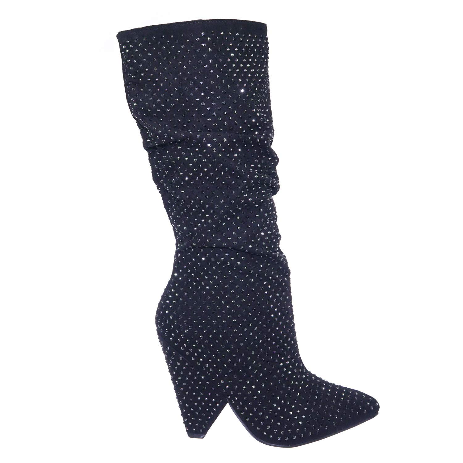 d4a27ef8bd Retro Rhinestone Embellished Glitter Boots On Cone Tapered Heel
