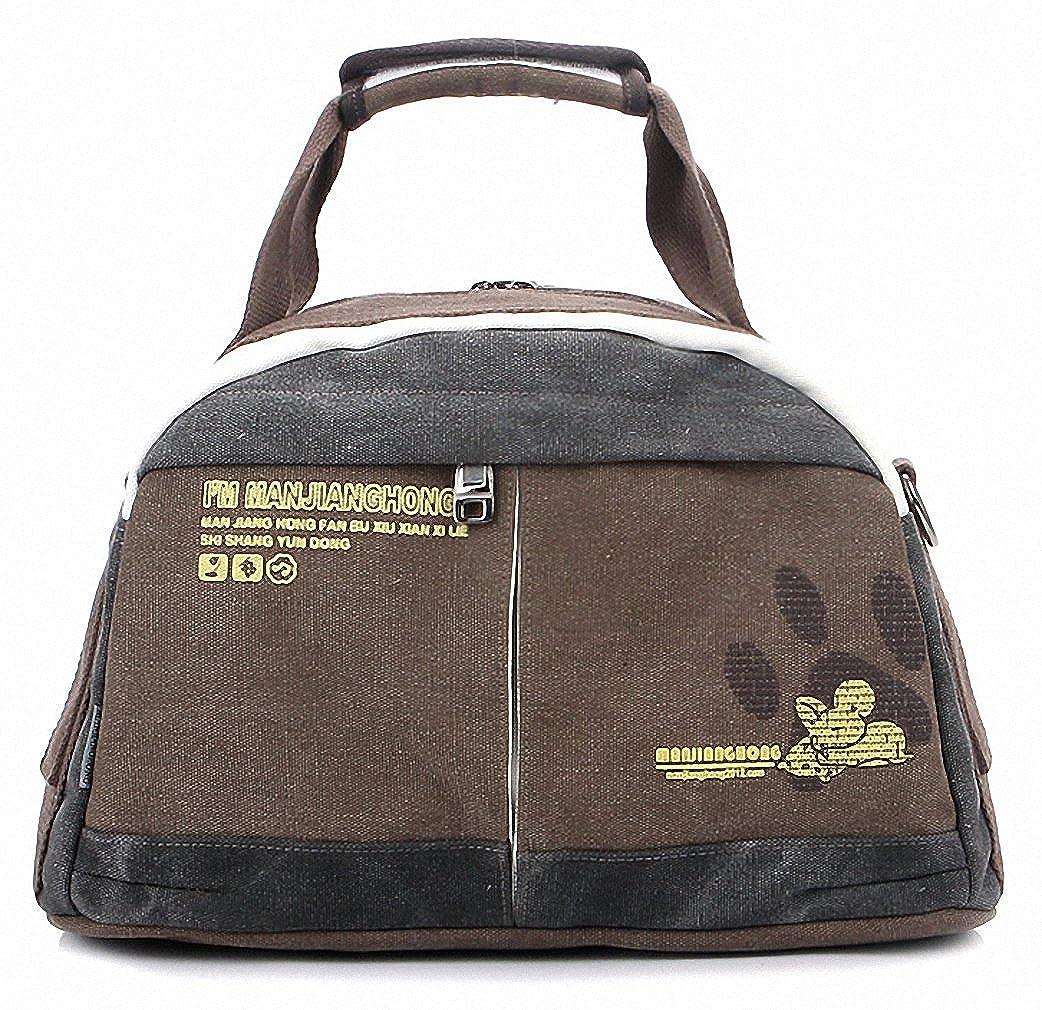 MANJHカジュアルレトロ波束ワイルドキャンバスメッセンジャーバッグショルダーバッグ  コーヒー B00V46OZ9Q