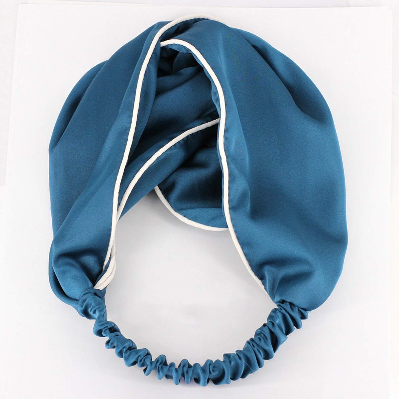 1PC Women Girls Hair Band Elastic Headbands Side Satin Fabric Hair Bands Cross Knot Turban Headband,Blue