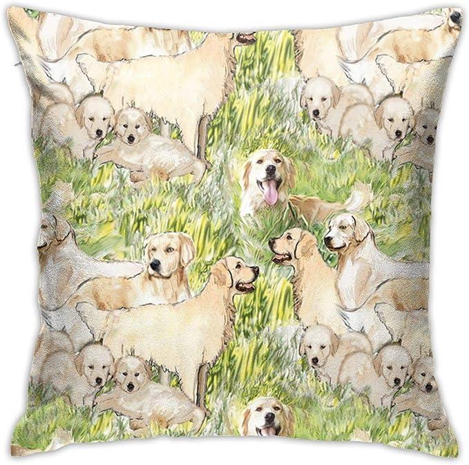 AD-GR51-CPW Golden Retriever Puppy Soft Velvet Feel Cushion Cover With Inner Pi