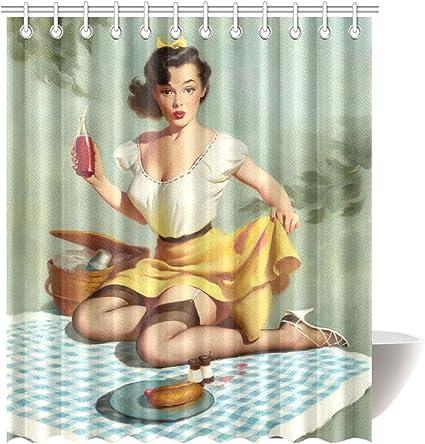 KOLATREE Pretty Camping Lady Sexy Retro Pin UP Girl Vintage Baño Resistente al Moho Tejido de poliéster Cortina de baño Tamaño 72