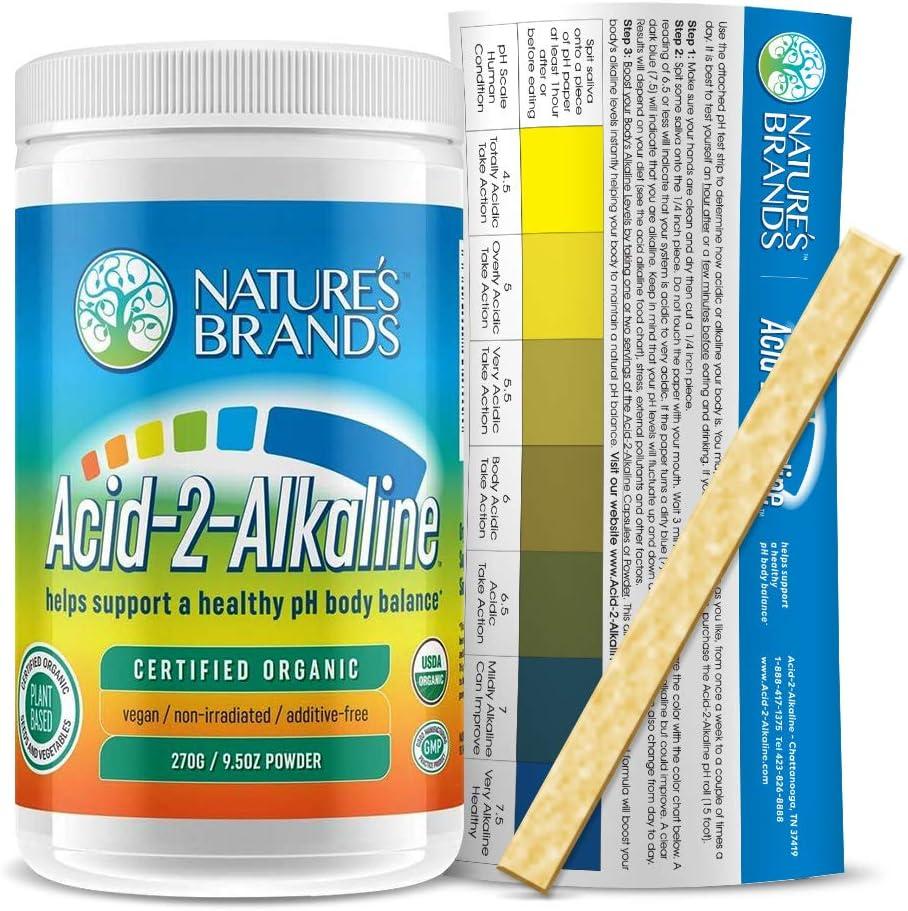 Organic Whole Food Alkalizing Powder by Acid-2-Alkaline; Organic Alkaline Booster & MultiVitamin for Healthy pH Balance; 9.5 oz Powder
