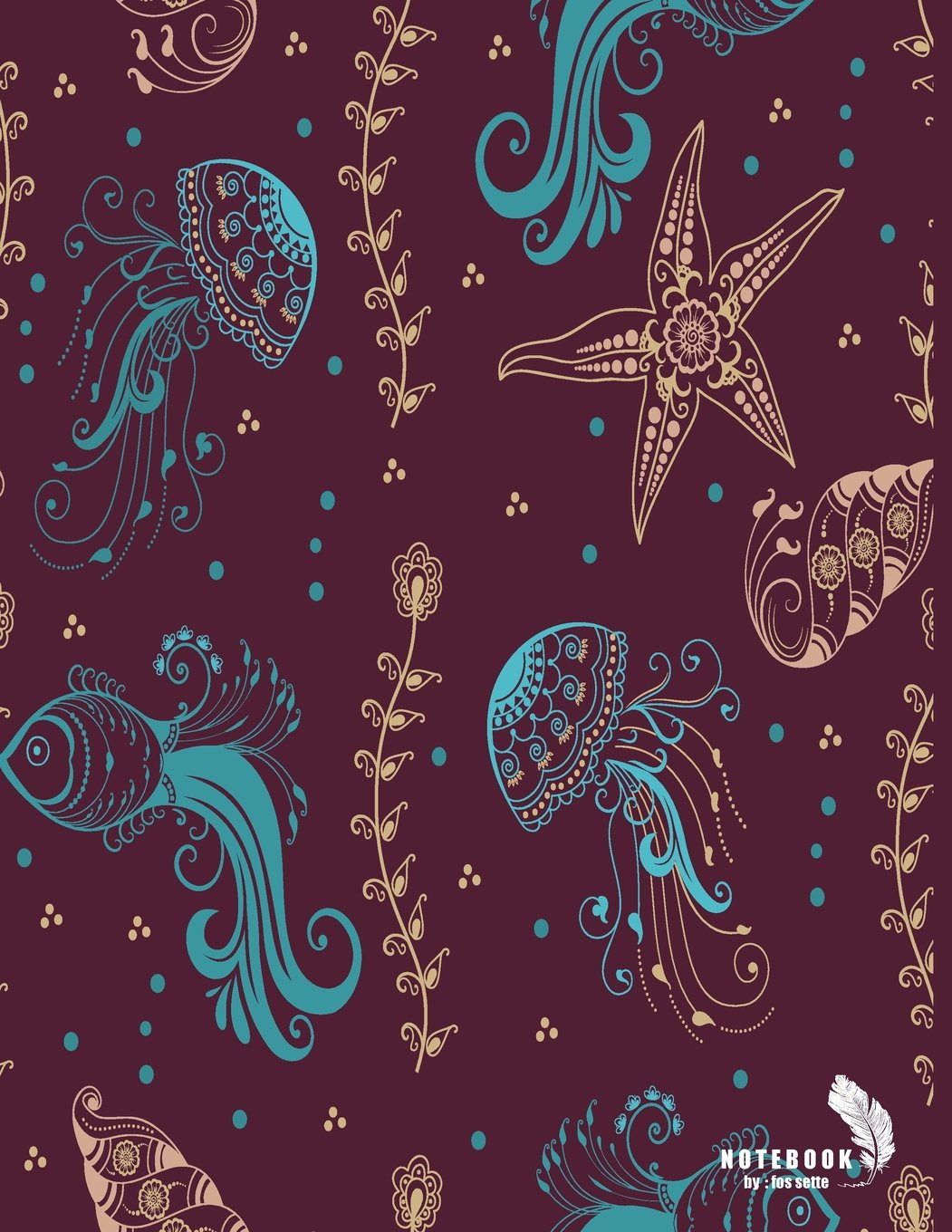 Notebook: Jellyfish and starfish on red cover and Lined pages, Extra large (8.5 x 11) inches, 110 pages, White paper (Jellyfish and starfish on red notebook) (Volume 3) pdf epub