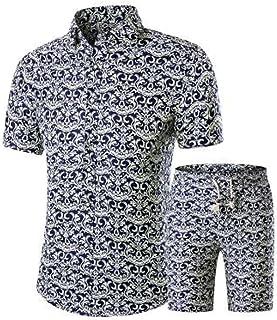 GAGA Men's Lapel Prints Summer Shirt Top + Fashion Print Shorts Set