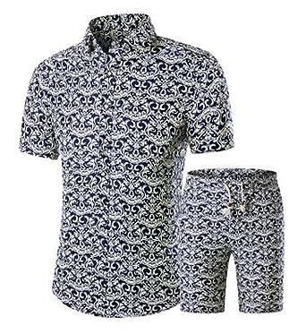 cfb86cb4ce06 WSPLYSPJY Men s Lapel Prints Floral Shirt Top + Drawstring Casual Shorts  Set 1 XS