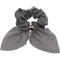 D DOLITY Rabbit Ear Hair Scrunchies Bow Scrunchie Scrunchy Elastic Hair Ties Band Ponytail Holder - Black