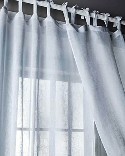 Kalahari White Organic Linen Gauze/organdy Tie Top Window/bed Sheer Curtain Panel 52″W X 108″L