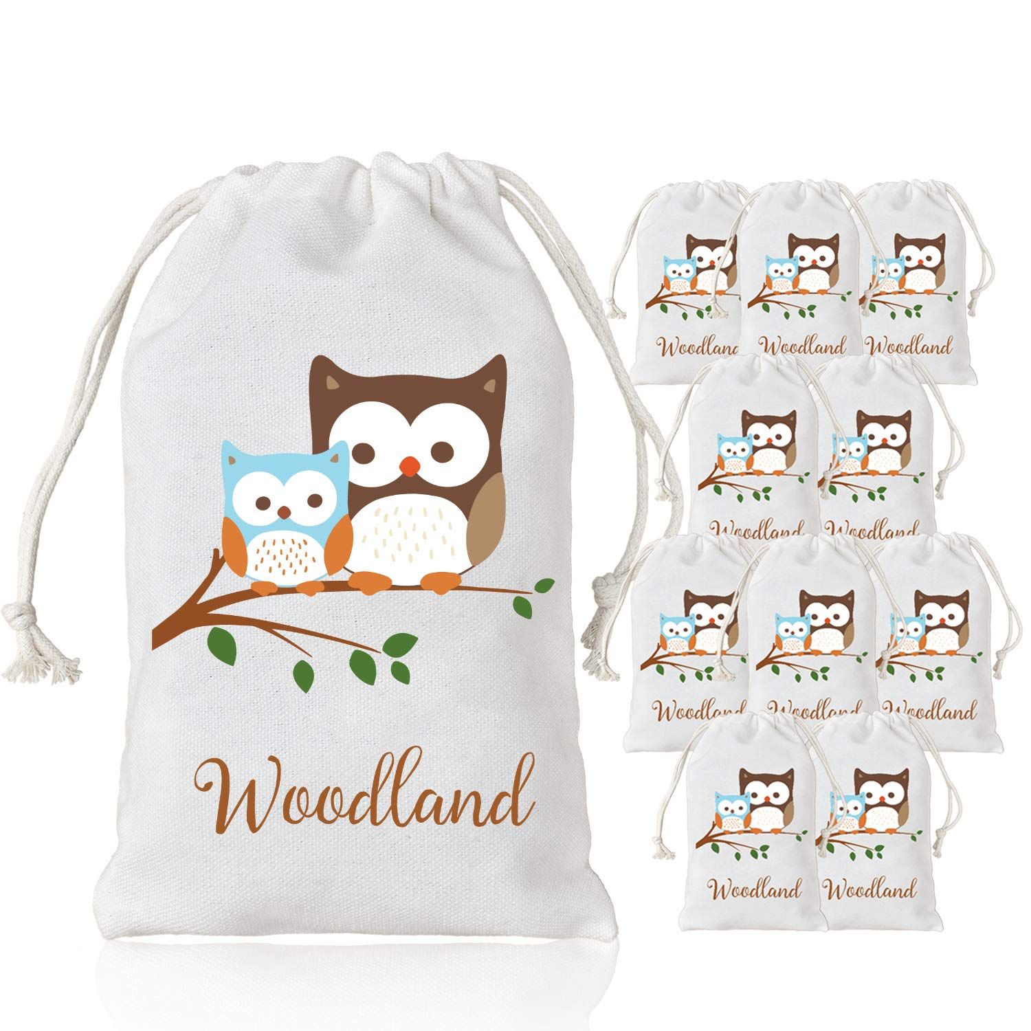 Kreatwow Woodland Party Supplies Favor Bags Baby Shower Birthday Candy Gift Goody Bags Owl Design 10 Pack