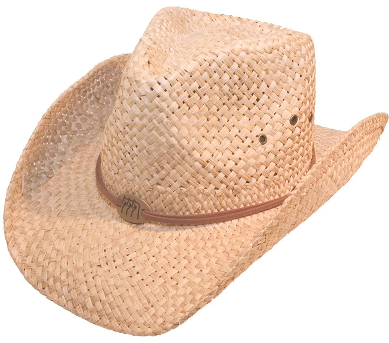 Mens or Womens Straw Cowboy Hat Wide Brimmed Stetson Sun Cap Fedora Trilby Hat Beige